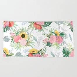 Girly Watercolor Poppy & Sunflowers Floral Design Beach Towel