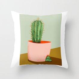 funny cactus Throw Pillow