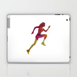 Woman runner running jogger jogging silhouette 02 Laptop & iPad Skin