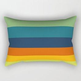Bright Indian Pattern Blue Green & Orange Yellow Colour Block Stripes Rectangular Pillow