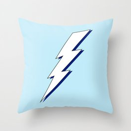 Just Me and My Shadow Lightning Bolt - Light-Blue White Blue Throw Pillow
