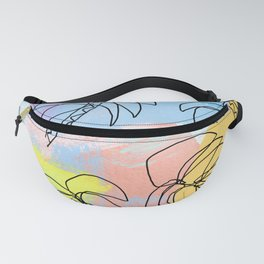 Palm tree pattern summer illustration tropical beach California pastel color Fanny Pack