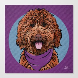 Icons of the Dog Park: Labradoodle Design in Bold Colors for Pet Lovers Canvas Print