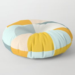 Summer Evening Geometric Shapes in Soft Blue and Orange Floor Pillow