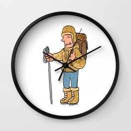 Mountain climber cartoon character Wall Clock