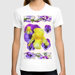 WHITE PANSY & IRIS  GARDEN ART DESIGN T-shirt
