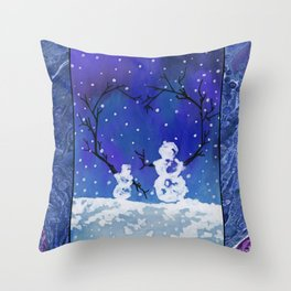 The Heart of Snowmen on a Winter Snowfall Day by annmariescreations Throw Pillow