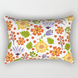 Sunshine yellow lavender orange abstract floral illustration Rectangular Pillow