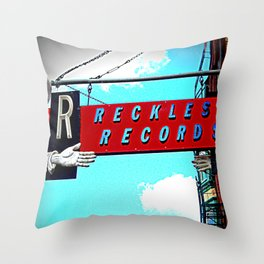 Reckless Records ~ chicago sign Throw Pillow