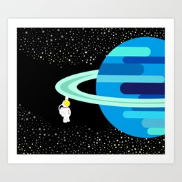 Space Odyssey | Astronaut & Planet | Space | Saturn | Galaxy | pulps of wood Art Print