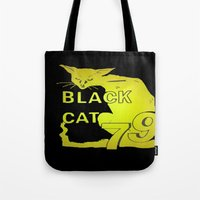duvet cover Tote Bags featuring BLACK CAT DUVET COVER by aztosaha