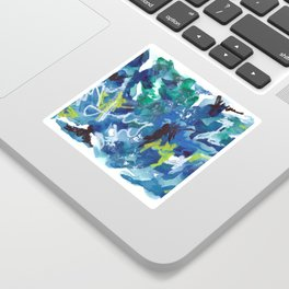 Blue Abstract Mixed-Media: Water Sticker