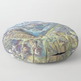 Heinrich Berann - Panoramic Painting Yellowstone National Park with labels (1991) Floor Pillow