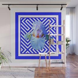 CONTEMPORARY BLUE & WHITE PATTERN IRIS PATTERN Wall Mural