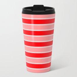 Large Horizontal Christmas Holiday Red Velvet and White Bed Stripe Travel Mug