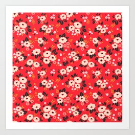 05 Ditsy floral pattern. Red background. White and pink flowers. Art Print