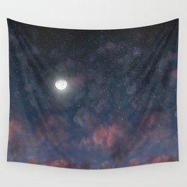 Glowing Moon on the night sky through pink clouds Wall Tapestry