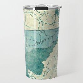 Delaware State Map Blue Vintage Travel Mug