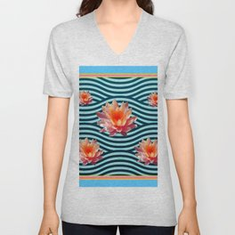 Peach Color Water Lily Water Garden Unisex V-Neck