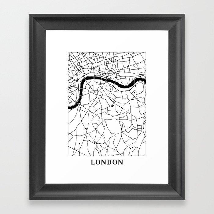 London Minimal Map Framed Art Print by mapmaker | Society6