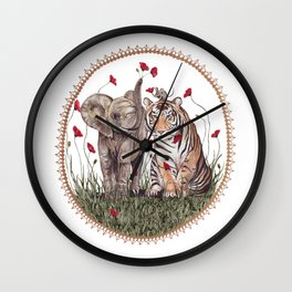 Tiger, Baby Elephant, and Mouse Playing in Poppies Wall Clock