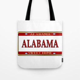 Alabama State Name License Plate Tote Bag