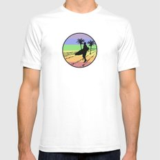 surfing White Mens Fitted Tee MEDIUM