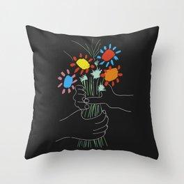 Bouquet - Picasso Line Art Throw Pillow