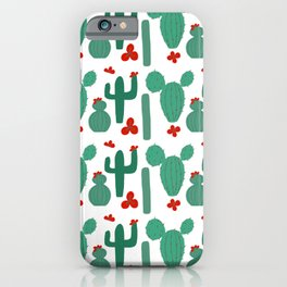 Green Cactus Shapes with Red Cactus Flowers iPhone Case