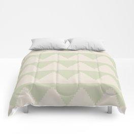 Geometric Pyramid Pattern - Soft Green Comforters