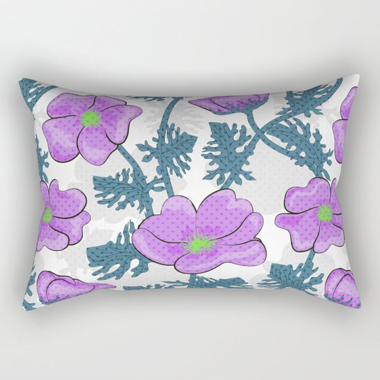 Flowers pink on white background. Rectangular Pillow