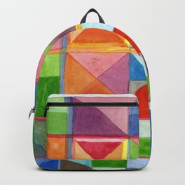 Grid with Centered Red Half Circle Backpack