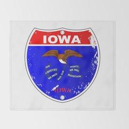 Iowa Flag Icons As Interstate Sign Throw Blanket