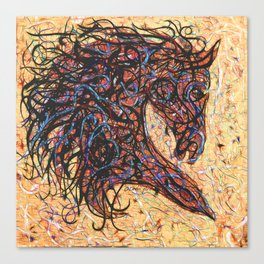 Abstract Horse Digital Ink Pollock Style Canvas Print