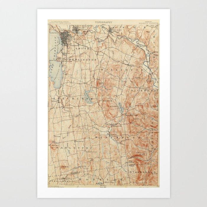 Vintage Burlington Vermont Topographic Map (1904) Art Print by ...