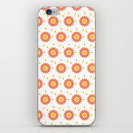 Modern orange yellow hand painted floral pattern iPhone Skin