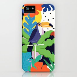 Bold Tropical Jungle Abstraction With Toucan Memphis Style iPhone Case