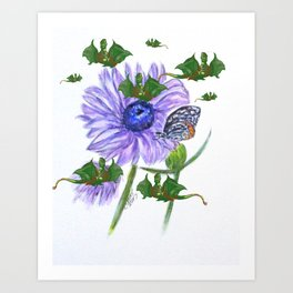 Buterflies And Strange Dragon Flies Art Print
