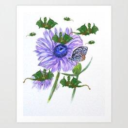 Buterflies And Strange Dragon Flies Art Print
