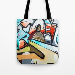 Graffiti blue cyan woman abstract impressionist street art colorful red gray yellow spraypaint urban Tote Bag
