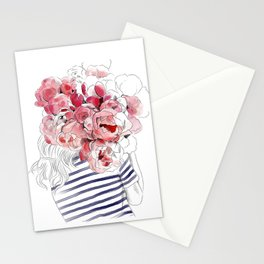 Back from the flower market - Peonies bouquet illustration Stationery Cards