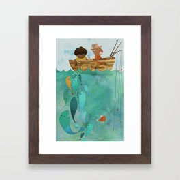 Fishing with Papa Framed Art Print
