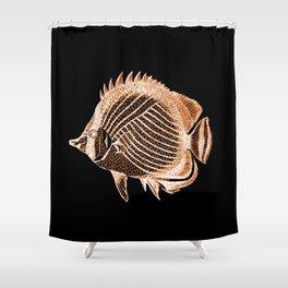 Fish nautical coastal in black background Shower Curtain