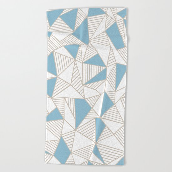Ab Nude Lines with Blue Blocks Beach Towel