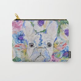 Abstract French bulldog floral watercolor paint Carry-All Pouch