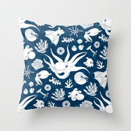 Cephalopods: Background Blue Throw Pillow