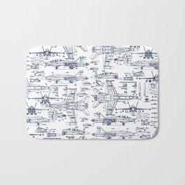 F-18 Blueprints // Blue Ink Bath Mat