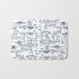 F-18 Blueprints // Blue Ink Bath Mat