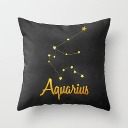 Aquarius Constellation Gold Throw Pillow
