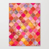 bedding Canvas Prints featuring Hot Pink, Gold, Tangerine & Taupe Decorative Moroccan Tile Pattern by micklyn